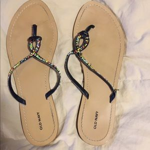 Women's old navy beaded wood size 9 flip flops